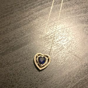 Jewelry - Sterling Silver Blue Sapphire Heart Necklace